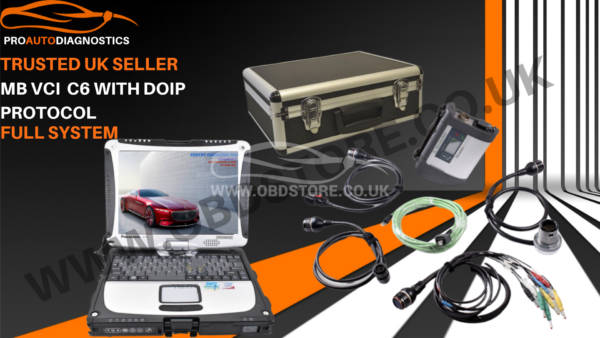 MB STAR C4 MERCEDES DIAGNOSTIC TOOL RUGGED LAPTOP and Full set of cables